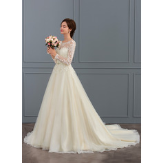 Ball-Gown Scoop Neck Court Train Tulle Lace Wedding Dress With Beading Sequins (002127259)
