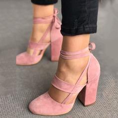 Donna Camoscio Tacco spesso Sandalo Stiletto Punta chiusa con Allacciato scarpe
