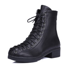 Women's PU Chunky Heel Boots Mid-Calf Boots Martin Boots With Zipper Lace-up shoes