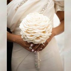 Bonito Redondo Seda artificiais Buquês de noiva/Buquês da nama de honra -