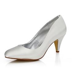 Vrouwen Satijn Cone Heel Closed Toe Pumps Verfbare Schoenen