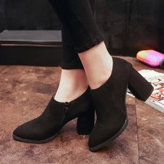 Women's Suede Chunky Heel Pumps Boots Ankle Boots With Zipper shoes