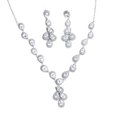 Ladies' Elegant Copper/Platinum Plated With Pear Cubic Zirconia Jewelry Sets For Bride/For Bridesmaid