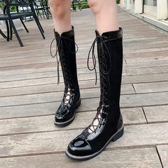 Frauen Veloursleder Kunstleder Niederiger Absatz Kniehocher Stiefel mit Reißverschluss Zuschnüren Schuhe