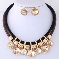 Bonito Liga Couro Vidro Mulheres Conjuntos de jóias (Vendido em uma única peça)