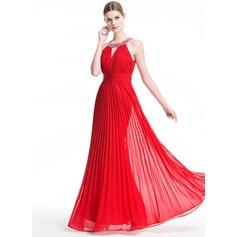 Vestidos princesa/ Formato A Decote redondo Longos De chiffon Vestido de festa com Bordado lantejoulas Plissada