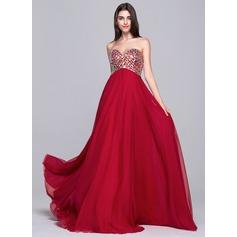 A-Line/Princess Sweetheart Sweep Train Chiffon Prom Dress With Beading