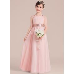 A-Line/Princess Floor-length Flower Girl Dress - Chiffon/Sequined Sleeveless Scoop Neck (010136596)