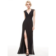 Sheath/Column V-neck Floor-Length Chiffon Evening Dress With Ruffle Split Front