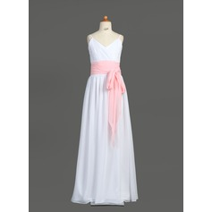 A-Line/Princess V-neck Floor-Length Chiffon Junior Bridesmaid Dress With Ruffle Sash Bow(s) (009001766)