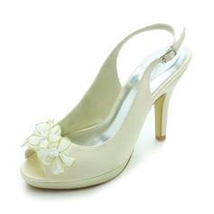 Frauen Satiniert Kegel Absatz Peep Toe Plateauschuh Sandalen Slingpumps mit Satin Blumen