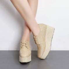 Women's PU Wedge Heel Platform Closed Toe Wedges With Lace-up shoes