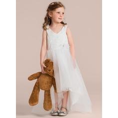 Vestidos princesa/ Formato A Assimétrico Vestidos de Menina das Flores - Tule/Renda Sem magas Decote V com Beading/fecho de correr
