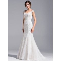 Trumpet/Mermaid Off-the-Shoulder Sweep Train Lace Wedding Dress (002071228)