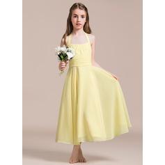 A-Line/Princess Halter Ankle-Length Chiffon Junior Bridesmaid Dress With Ruffle