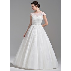Платье для Балла Круглый Длина до пола Тюль Свадебные Платье с развальцовка аппликации кружева блестки