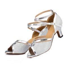 Mulheres Espumante Glitter Saltos Sandálias Latino com Correia de Calcanhar Sapatos de dança