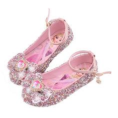 Muchacha Punta Cerrada Kunstleder Zapatos de niña de las flores con Bowknot Lentejuelas