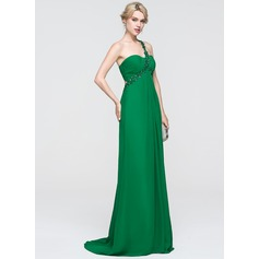 Empire One-Shoulder Sweep Train Chiffon Prom Dress With Ruffle Lace Beading Sequins (018089693)