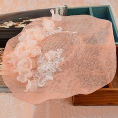 Senhoras Bonito Linho com Flor de seda De disquetes Chapéu