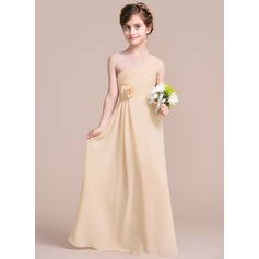A-Line/Princess One-Shoulder Floor-Length Chiffon Junior Bridesmaid Dress With Ruffle Flower(s) (009097065)