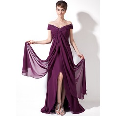 A-Line/Princess Off-the-Shoulder Sweep Train Chiffon Holiday Dress With Ruffle Beading Split Front