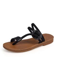 Женщины кожа Плоский каблук Сандалии На плокой подошве Босоножки Вьетнамки обувь