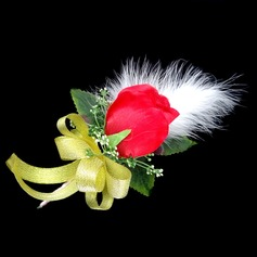 Gorgeous Free-Form Satin/Cotton Boutonniere