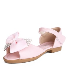 Girl's Peep Toe Microfiber Leather Sandals Flower Girl Shoes With Bowknot