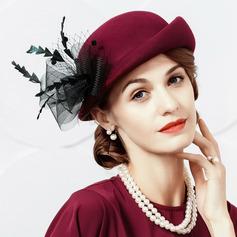 Damer' Glamorösa/Enkel/Nice/Romantiskt Ull med Tyll Basker Hat/Tea Party Hattar