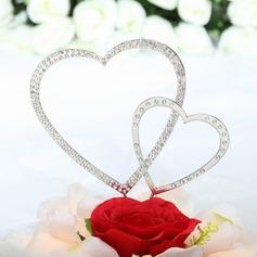 Doubles Coeurs Chromé Mariage Décoration pour gâteaux (Jeu de 2 pièces)