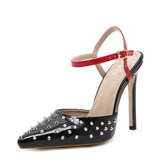 Women's PU Stiletto Heel Sandals Pumps Closed Toe Slingbacks With Rivet shoes