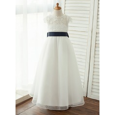 Floor-length Flower Girl Dress - Taffeta/Organza/Lace Short Sleeves Scoop Neck With Sash/V Back