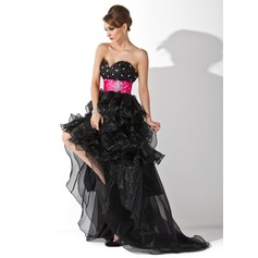 A-Line/Princess Sweetheart Asymmetrical Organza Prom Dress With Sash Beading Cascading Ruffles