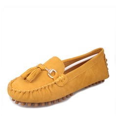 Women's Suede Flat Heel Flats Closed Toe With Tassel shoes