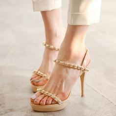 Women's Patent Leather Stiletto Heel Peep Toe Platform Sandals Beach Wedding Shoes With Imitation Pearl
