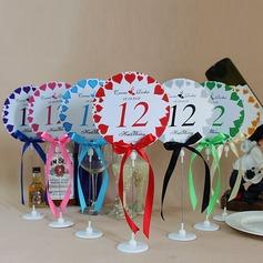 Personalizado Amor Projeto Papel Número da Mesa Cartões com Suportes com Fitas (Conjunto de 10)