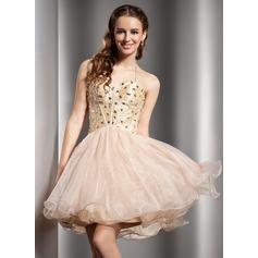 Çan/Prenses Yular Kısa/Mini Taffeta Organza Mezunlar Gecesi Elbisesi Ile Boncuklama
