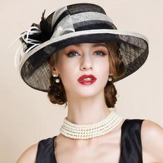 Damene ' Elegant Cambric med Fjær Stiv / Cloche Hatt