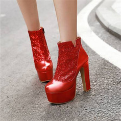 Women's Leatherette Chunky Heel Ankle Boots With Sequin Sparkling Glitter shoes