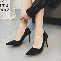 Frauen Wildleder Stöckel Absatz Absatzschuhe Geschlossene Zehe mit Kristall Schuhe
