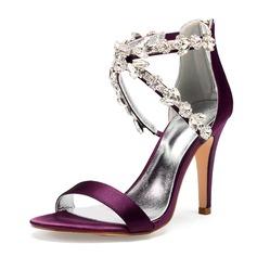Frauen Seide wie Satin Stöckel Absatz Peep-Toe Absatzschuhe Sandalen mit Strass Perle Reißverschluss
