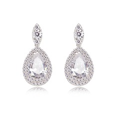 Charming Zircon/Platinum Plated Ladies' Earrings (011051011)