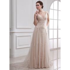 A-linjeformat V-ringning Court släp Tyll Bröllopsklänning med Pärlbrodering Applikationer Spetsar