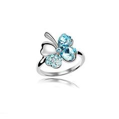 Flor em forma Liga com Imitação de cristal Senhoras Anéis Moda