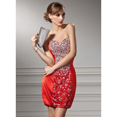 Sheath/Column Sweetheart Short/Mini Charmeuse Sequined Cocktail Dress With Beading (016008405)