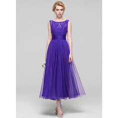 A-Line/Princess Scoop Neck Ankle-Length Tulle Bridesmaid Dress With Ruffle