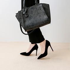 Kvinnor Sammet Stilettklack Pumps Stängt Toe skor