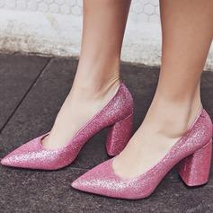 Kvinner Glitrende Glitter Stor Hæl Lukket Tå