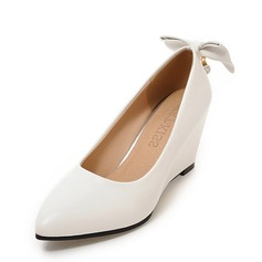 Donna Similpelle Zeppe Stiletto Punta chiusa Zeppe con Bowknot scarpe